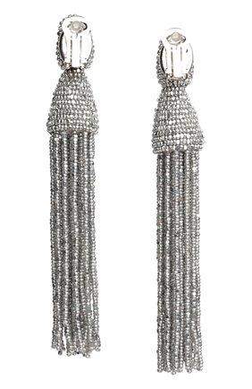 Женские серьги-клипсы из бисера OSCAR DE LA RENTA серебряного цвета, арт. 0J101SIL | Фото 2