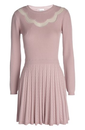 Вязаное платье REDVALENTINO светло-розовое   Фото №1