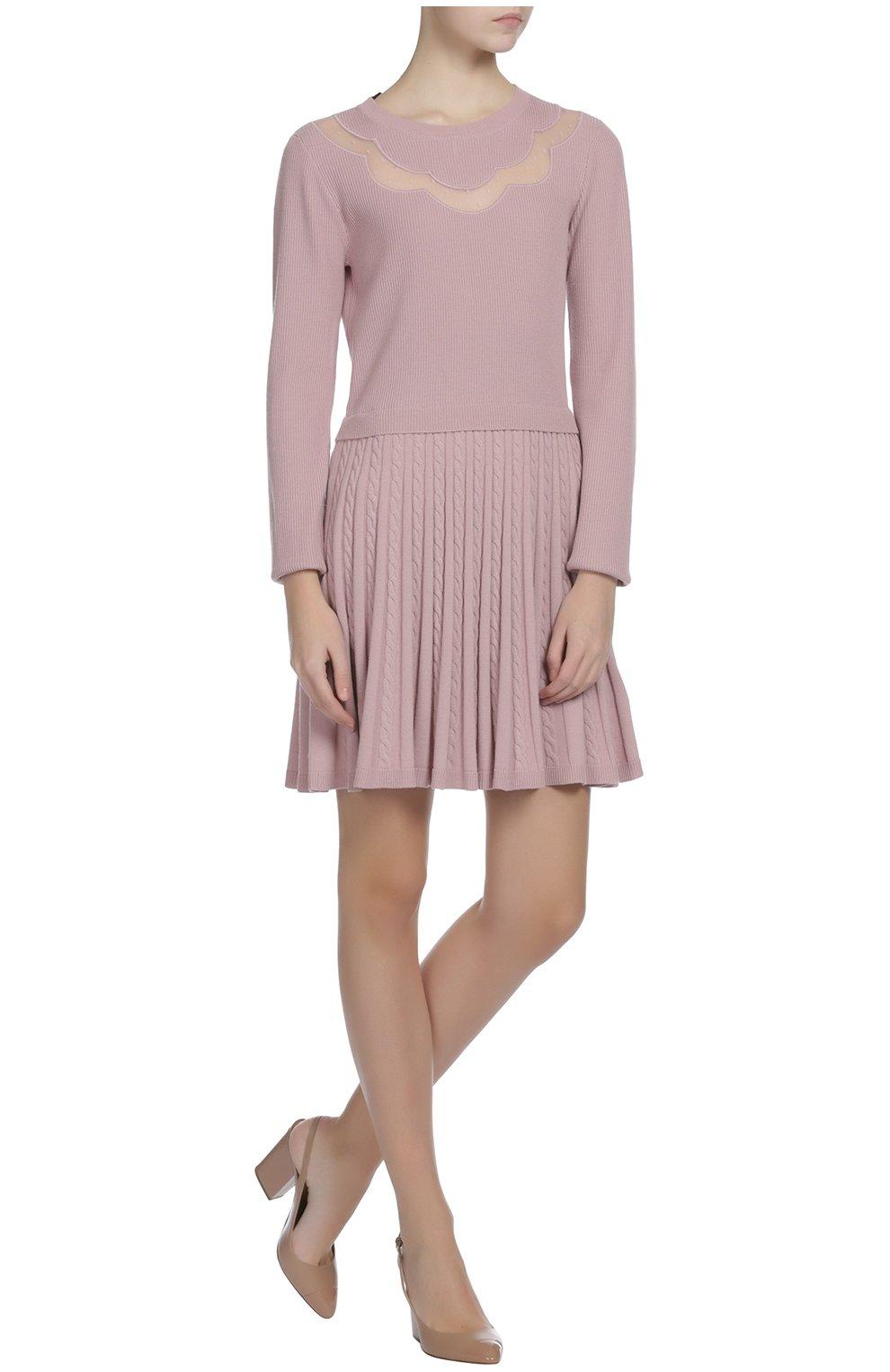 Вязаное платье REDVALENTINO светло-розовое   Фото №4