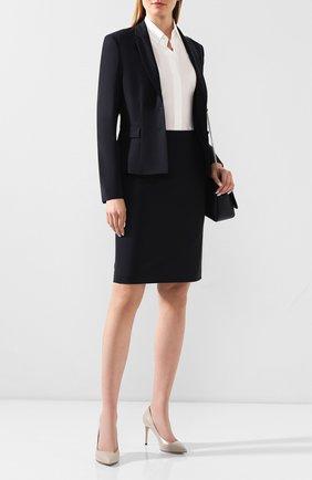 Женская шерстяная юбка BOSS синего цвета, арт. 50291813 | Фото 2