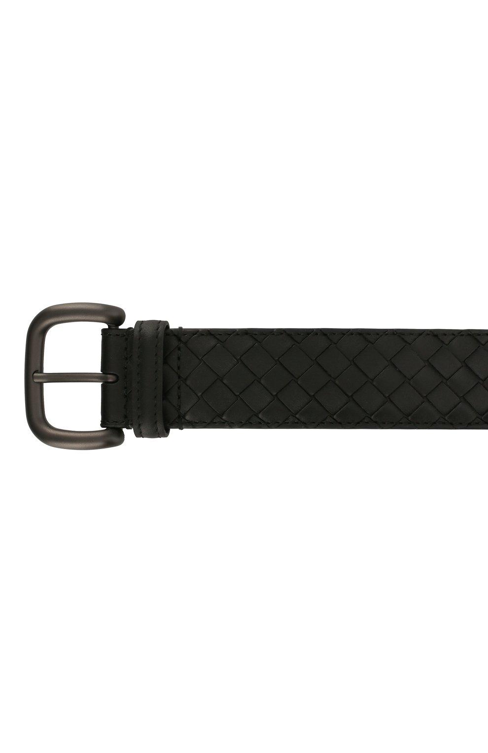Мужской кожаный ремень BOTTEGA VENETA черного цвета, арт. 173784/V4650 | Фото 3