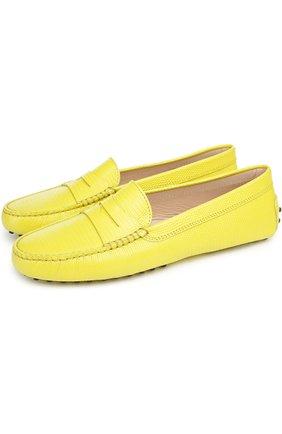 Кожаные мокасины Gommini с перемычкой Tod's желтые | Фото №2