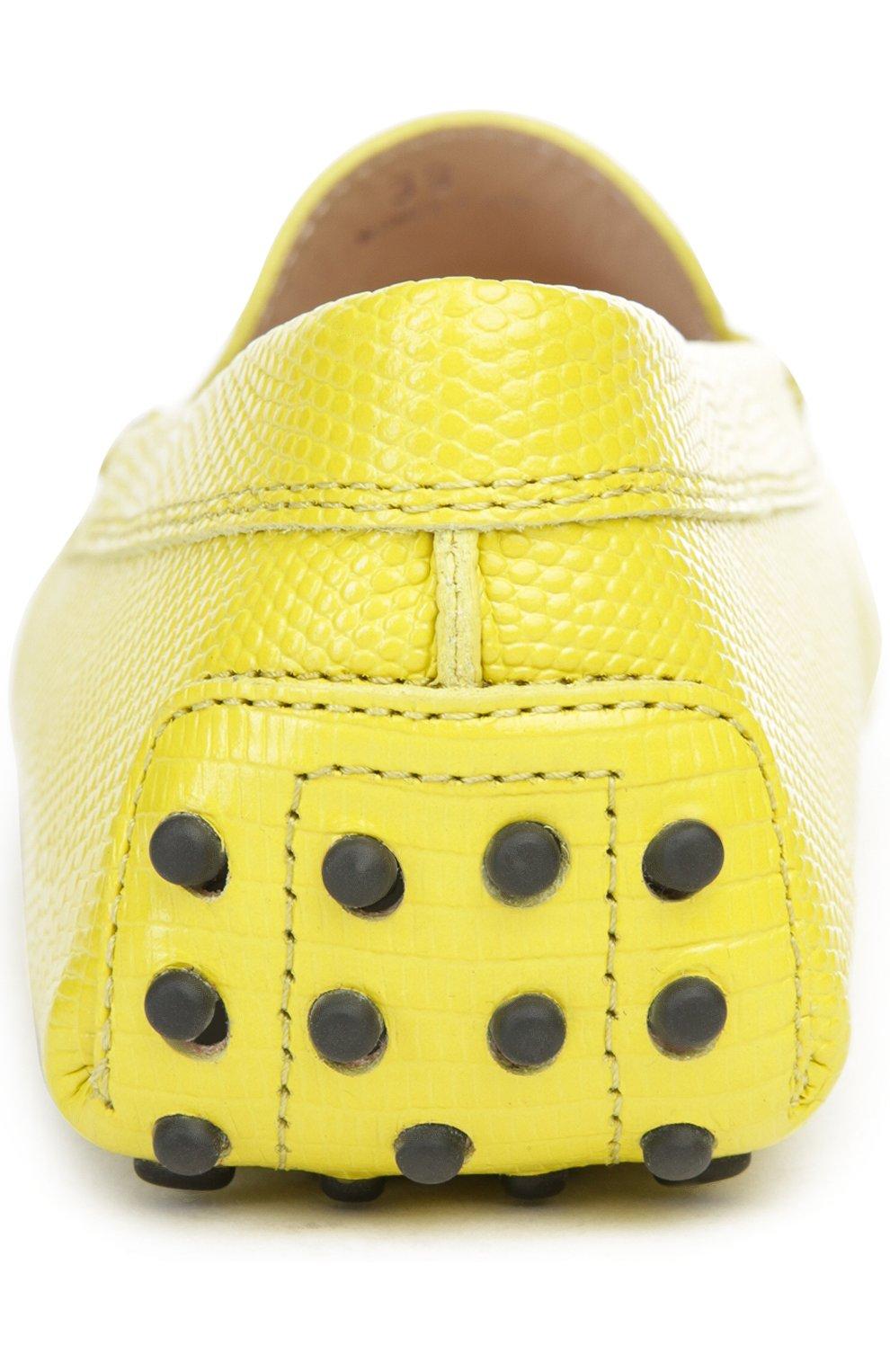 Кожаные мокасины Gommini с перемычкой Tod's желтые | Фото №3