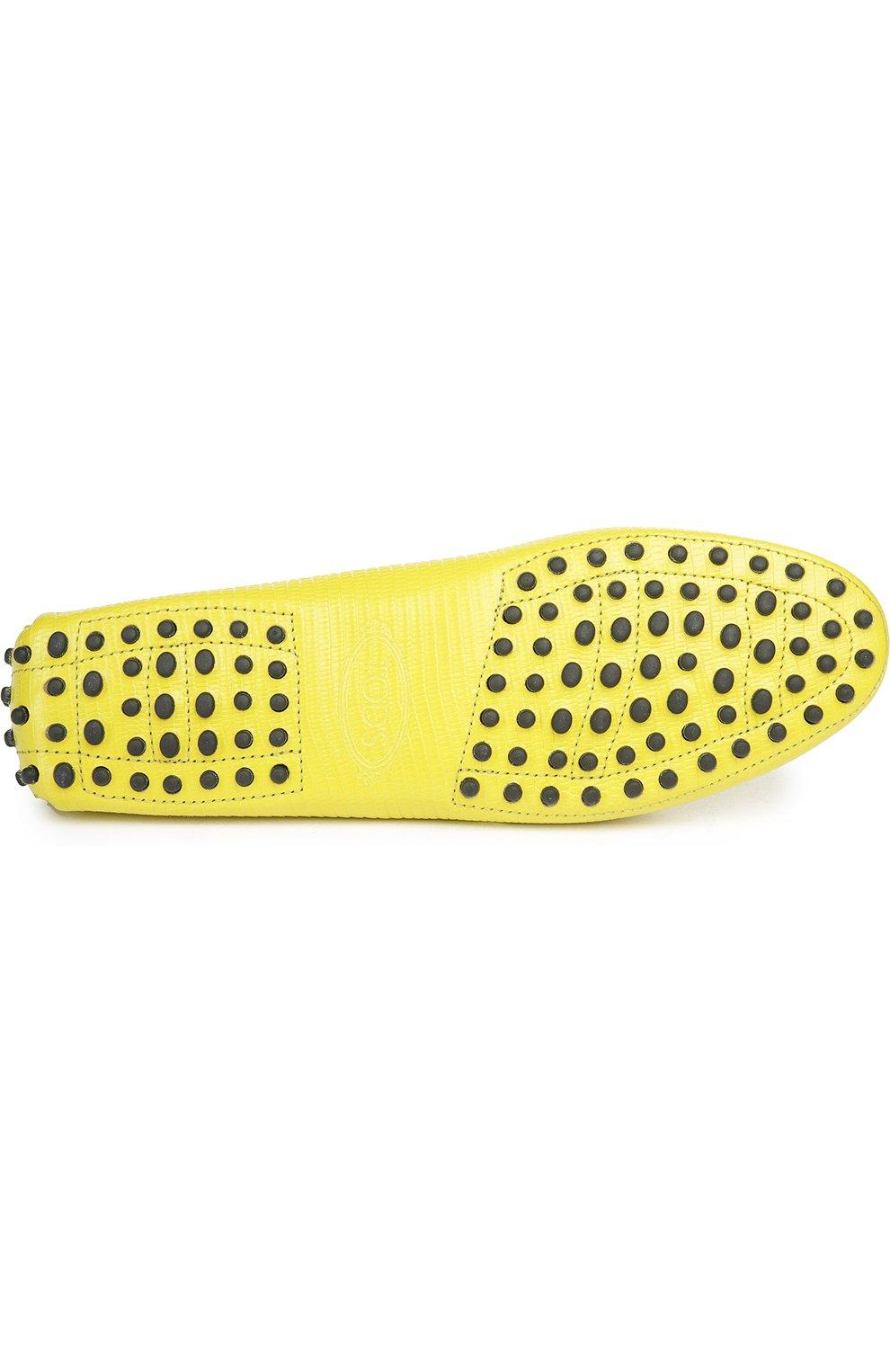 Кожаные мокасины Gommini с перемычкой Tod's желтые | Фото №5