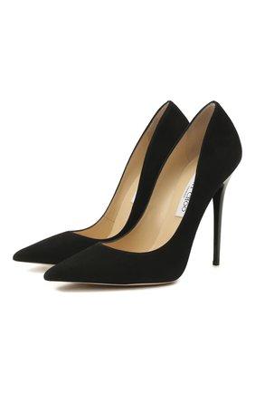 Женские замшевые туфли anouk на шпильке JIMMY CHOO черного цвета, арт. AN0UK/SUE   Фото 1