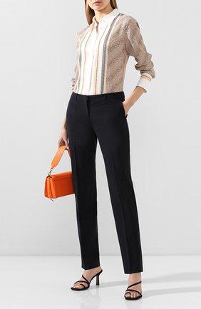 Женские шерстяные брюки BOSS синего цвета, арт. 50291873 | Фото 2
