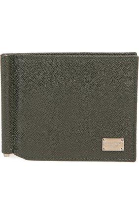Мужской кожаный зажим для денег DOLCE & GABBANA болотного цвета, арт. 0115/BP1920/A1001 | Фото 1