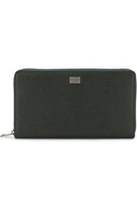Мужская кожаный футляр для документов на молнии DOLCE & GABBANA темно-зеленого цвета, арт. 0115/BP1517/A1001 | Фото 1