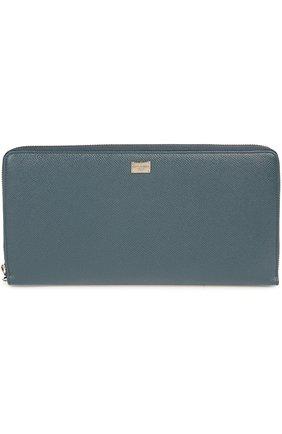 Мужской кожаное портмоне DOLCE & GABBANA темно-синего цвета, арт. 0115/BP2128/A1001 | Фото 1