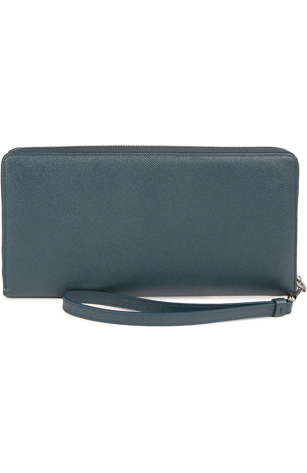 Кожаный бумажник на молнии с отделением для кредитных карт Dolce & Gabbana темно-синего цвета | Фото №2