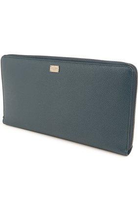 Кожаный бумажник на молнии с отделением для кредитных карт Dolce & Gabbana темно-синего цвета | Фото №3