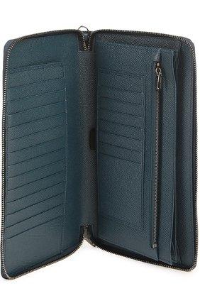 Кожаный бумажник на молнии с отделением для кредитных карт Dolce & Gabbana темно-синего цвета | Фото №4