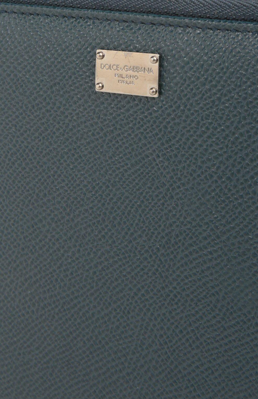 Кожаный бумажник на молнии с отделением для кредитных карт Dolce & Gabbana темно-синего цвета | Фото №5
