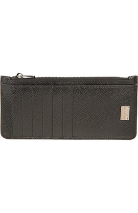 Кожаный футляр для кредитных карт с отделением для монет Dolce & Gabbana черного цвета | Фото №1