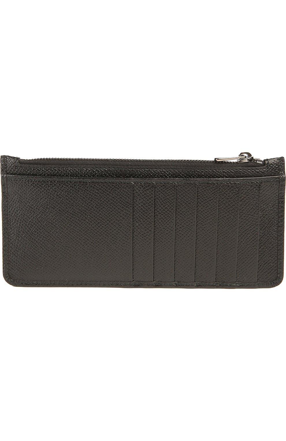 Кожаный футляр для кредитных карт с отделением для монет Dolce & Gabbana черного цвета | Фото №2