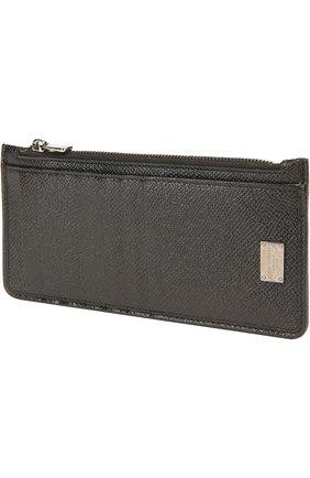 Кожаный футляр для кредитных карт с отделением для монет Dolce & Gabbana черного цвета | Фото №3