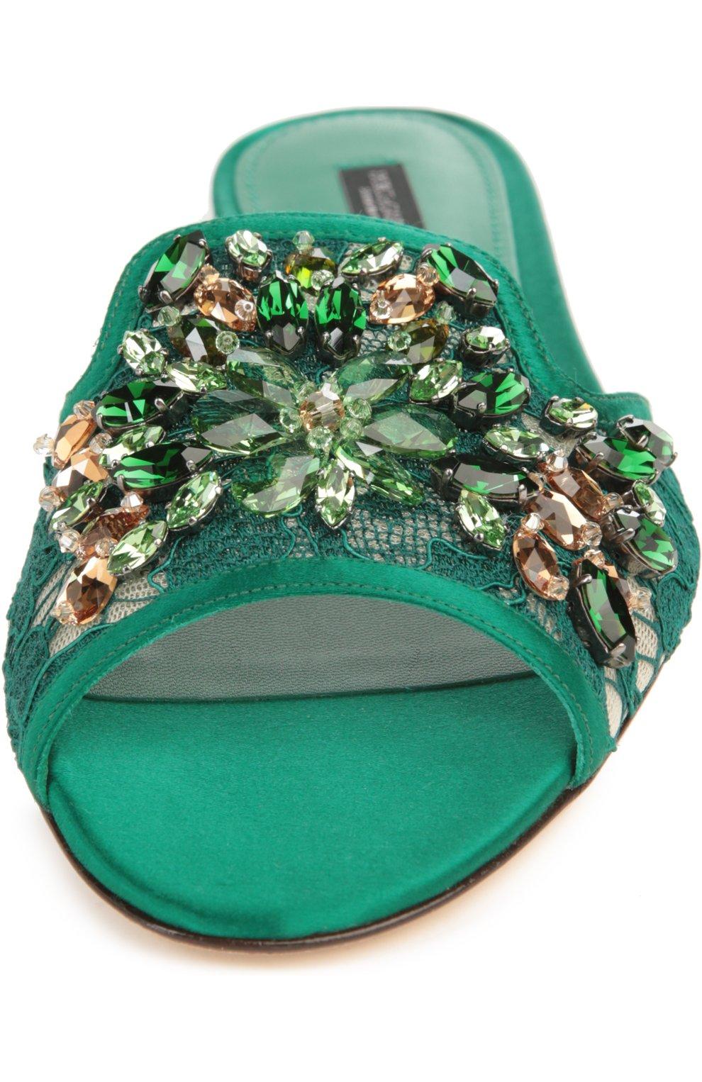 Кружевные шлепанцы Bianca с кристаллами | Фото №4