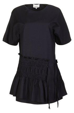 Приталенное мини-платье с широкой оборкой   Фото №1