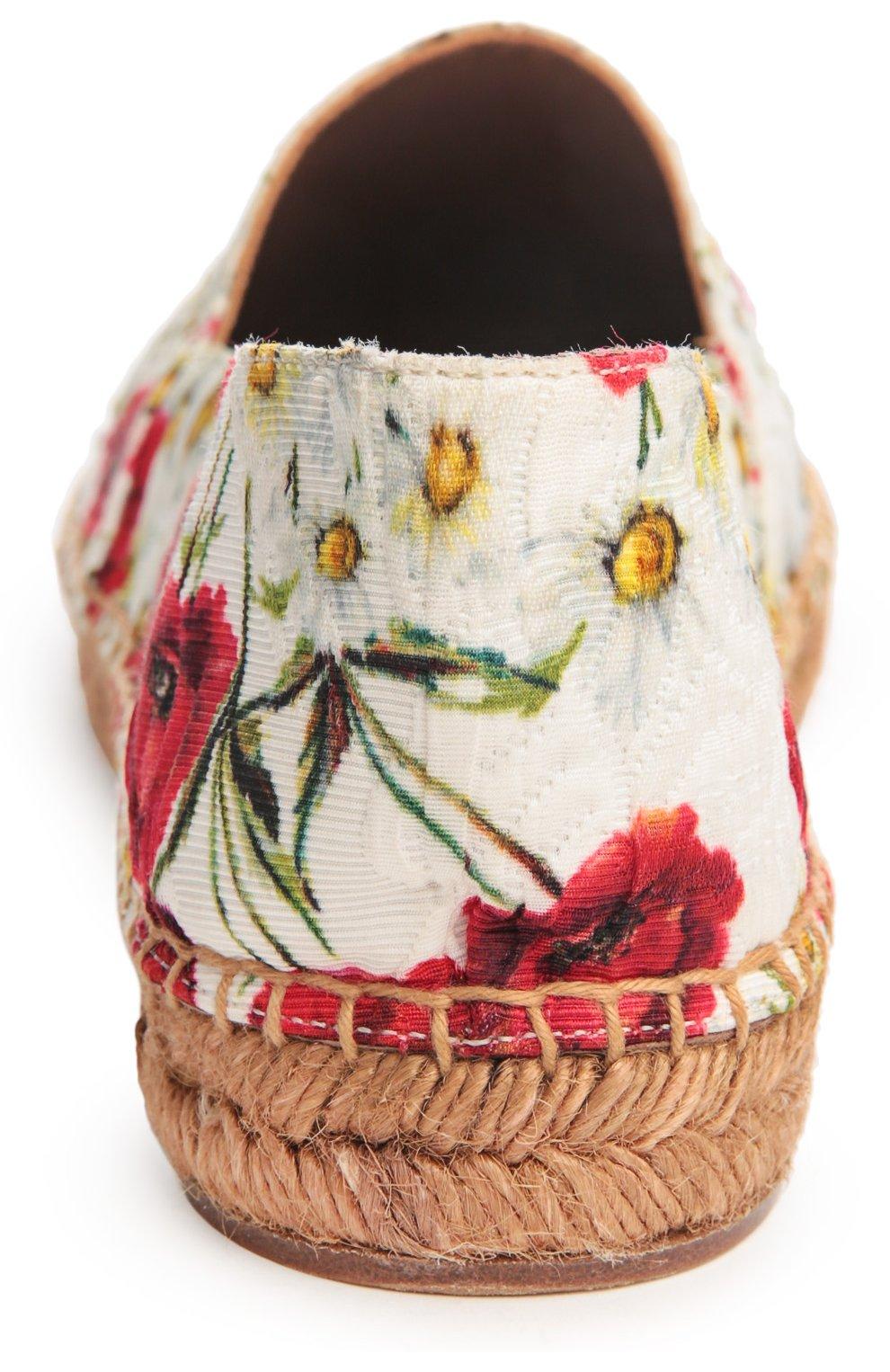 Парчовые эспадрильи с принтом Dolce & Gabbana белые | Фото №3