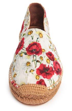 Парчовые эспадрильи с принтом Dolce & Gabbana белые | Фото №4