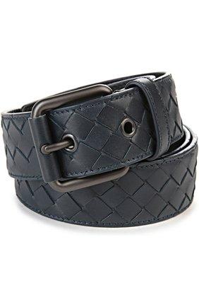 Мужской кожаный ремень BOTTEGA VENETA темно-синего цвета, арт. 407396/V4650 | Фото 1
