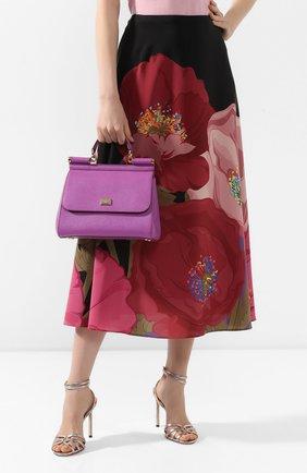 Женская сумка sicily medium DOLCE & GABBANA фиолетового цвета, арт. 0116/BB6002/A1001 | Фото 2 (Материал: Натуральная кожа; Ремень/цепочка: На ремешке; Статус проверки: Проверено, Проверена категория; Сумки-технические: Сумки top-handle; Размер: medium)
