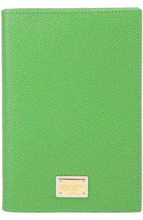 Кожаная обложка для документов Dolce & Gabbana зеленого цвета | Фото №1