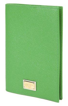 Кожаная обложка для документов Dolce & Gabbana зеленого цвета | Фото №3