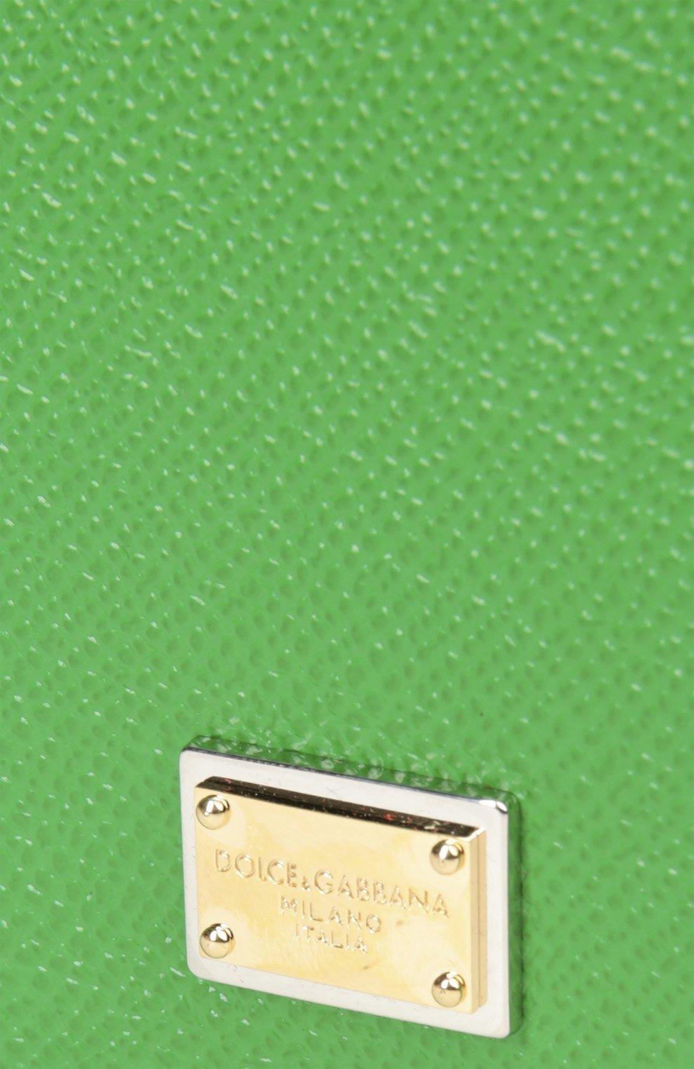 Кожаная обложка для документов Dolce & Gabbana зеленого цвета | Фото №5