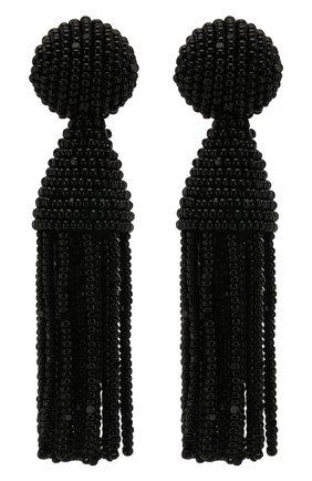 Женские удлиненные клипсы с бисером OSCAR DE LA RENTA черного цвета, арт. 0J102BLK | Фото 1