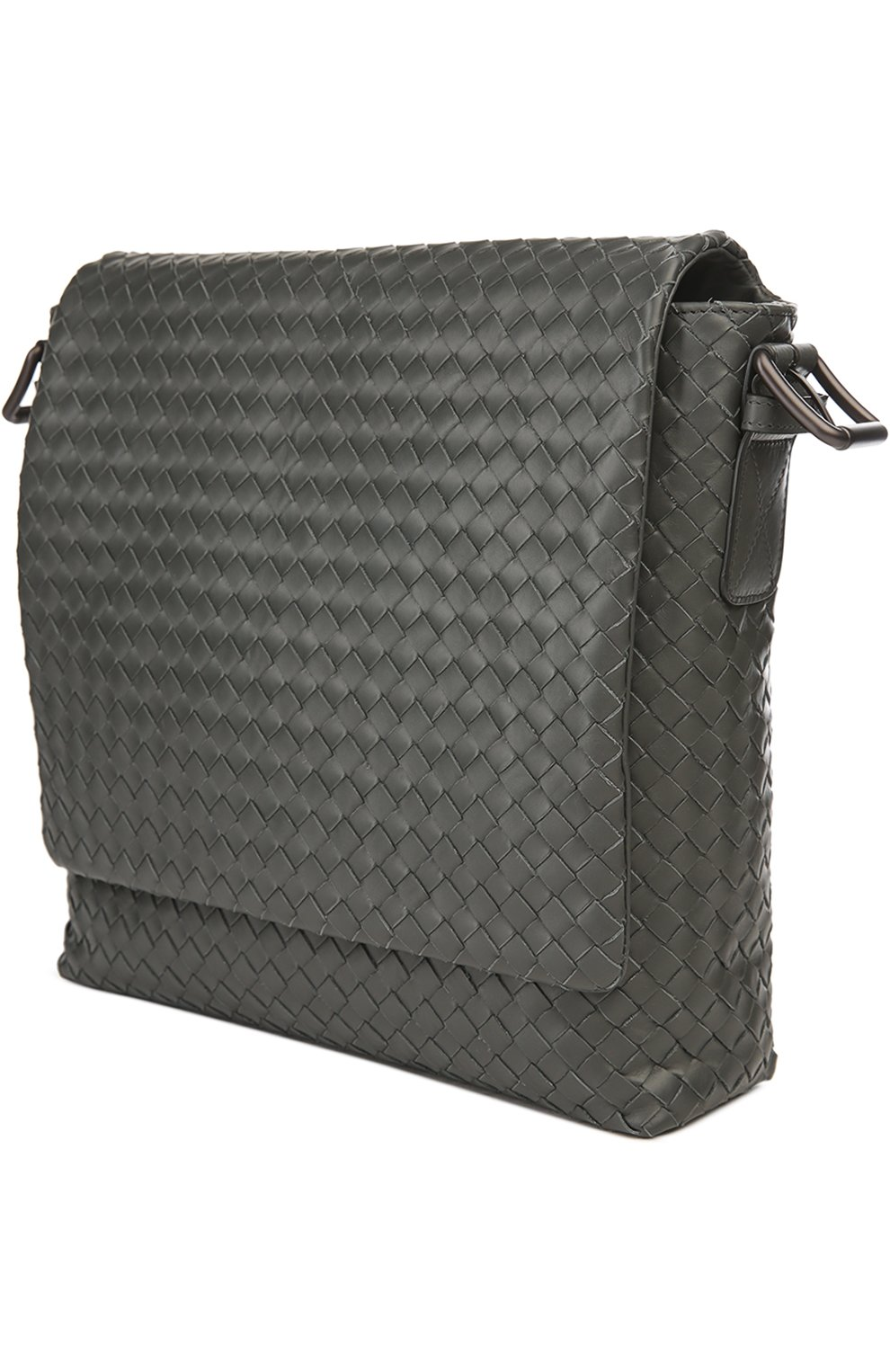 8400e21ada12e Кожаная сумка-планшет с плетением intrecciato Bottega Veneta темно-серая