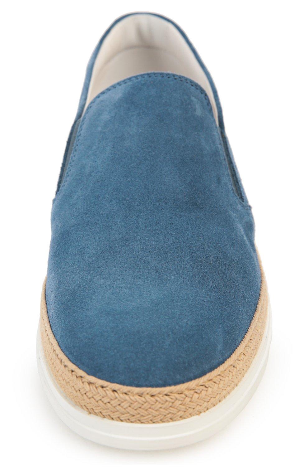 Замшевые слипоны Gomma Rafia Tod's серо-голубые | Фото №4