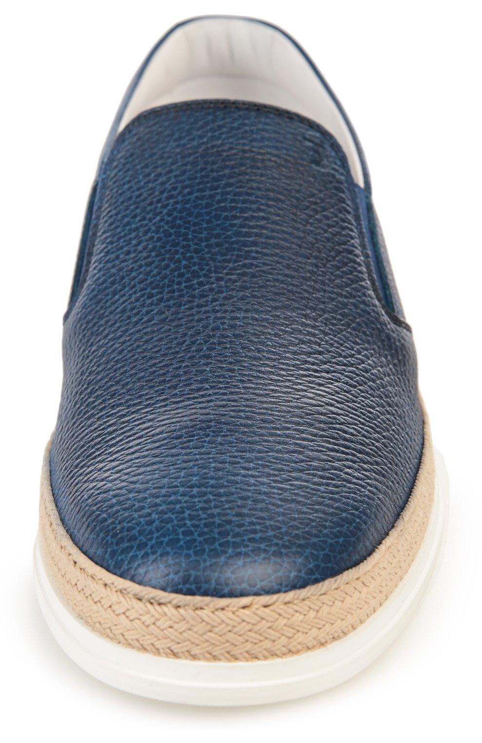 Кожаные слипоны Tod's голубые | Фото №4