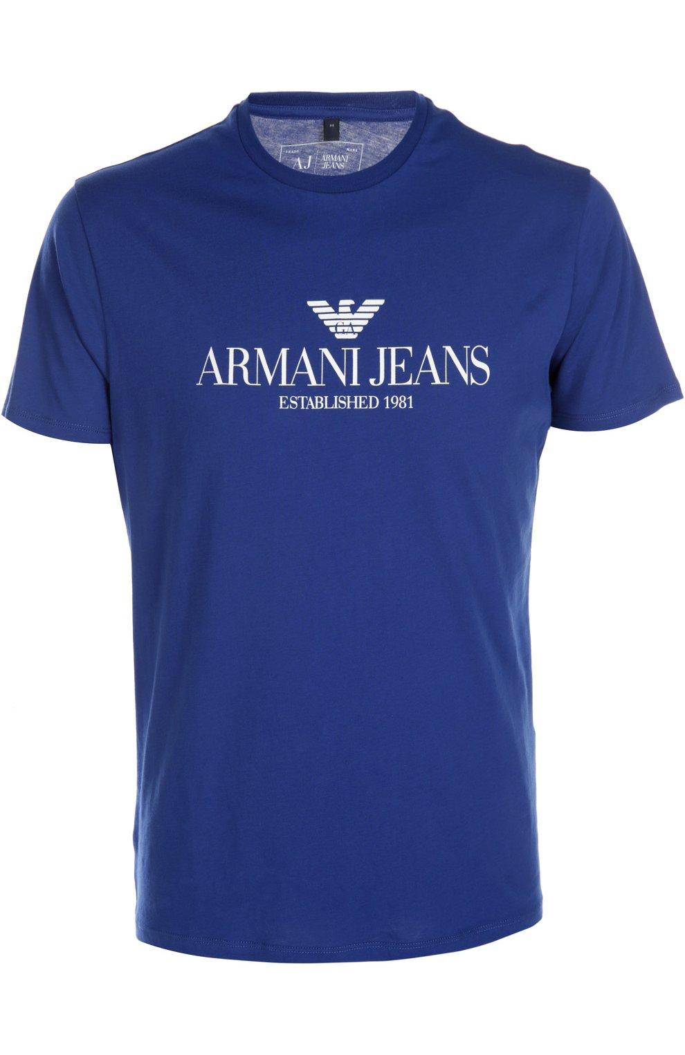 b2fb45539d201 Мужская синяя футболка джерси ARMANI JEANS — купить за 4995 руб. в ...