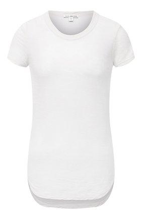 Женская хлопковая футболка JAMES PERSE белого цвета, арт. WUA3037   Фото 1 (Материал внешний: Хлопок; Длина (для топов): Стандартные; Рукава: Короткие; Стили: Кэжуэл, Минимализм; Принт: Без принта; Статус проверки: Проверена категория; Женское Кросс-КТ: Футболка-одежда)