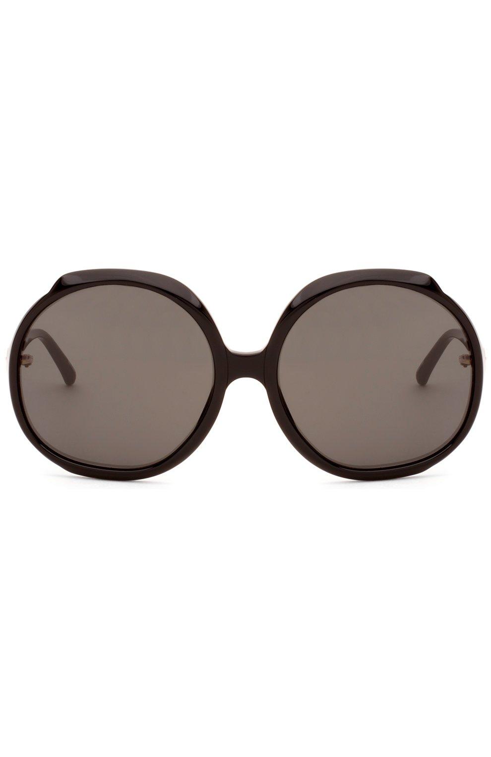 Женские солнцезащитные очки LINDA FARROW черного цвета, арт. LFL417C1 SUN   Фото 1