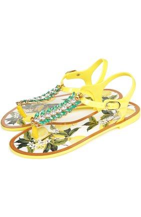 Резиновые сандалии с декором | Фото №2