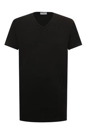 Мужская футболка из смеси хлопка и вискозы ZIMMERLI черного цвета, арт. 186/1422 | Фото 1