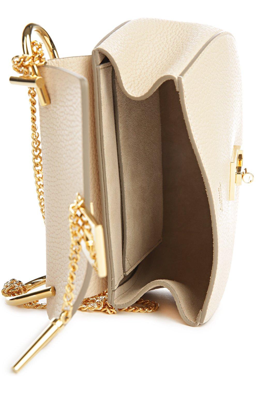 Сумка Drew mini на цепочке Chloé кремовая цвета   Фото №4