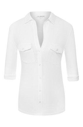Женская хлопковая рубашка JAMES PERSE белого цвета, арт. WUA3042 | Фото 1