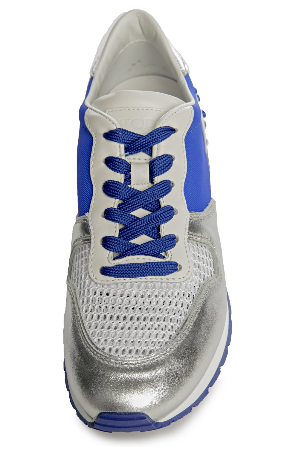 Кроссовки из металлизированной кожи с цветной вставкой | Фото №4