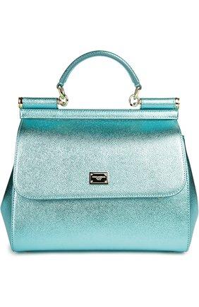 Сумка Sicily medium new из металлизированной кожи Dolce & Gabbana голубого цвета | Фото №1