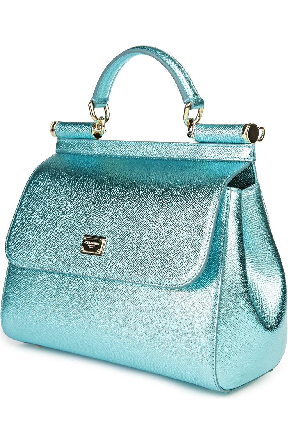 Сумка Sicily medium new из металлизированной кожи Dolce & Gabbana голубого цвета | Фото №3