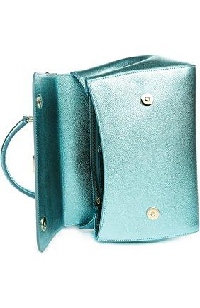 Сумка Sicily medium new из металлизированной кожи Dolce & Gabbana голубого цвета | Фото №4