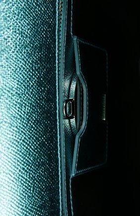 Сумка Sicily medium new из металлизированной кожи Dolce & Gabbana голубого цвета | Фото №5