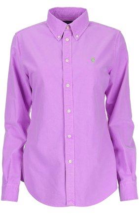 Приталенная хлопковая блуза с воротником button down | Фото №1