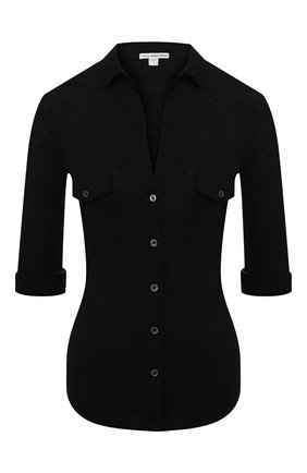 Женская хлопковая рубашка JAMES PERSE черного цвета, арт. WUA3042 | Фото 1