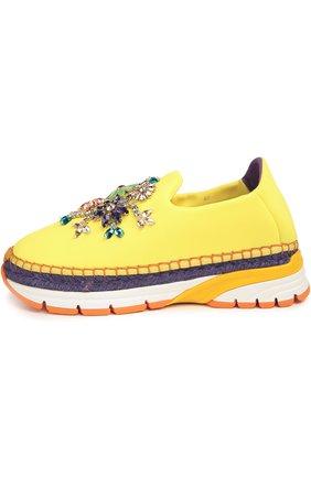 Текстильные кроссовки с декором Dolce & Gabbana желтые | Фото №1