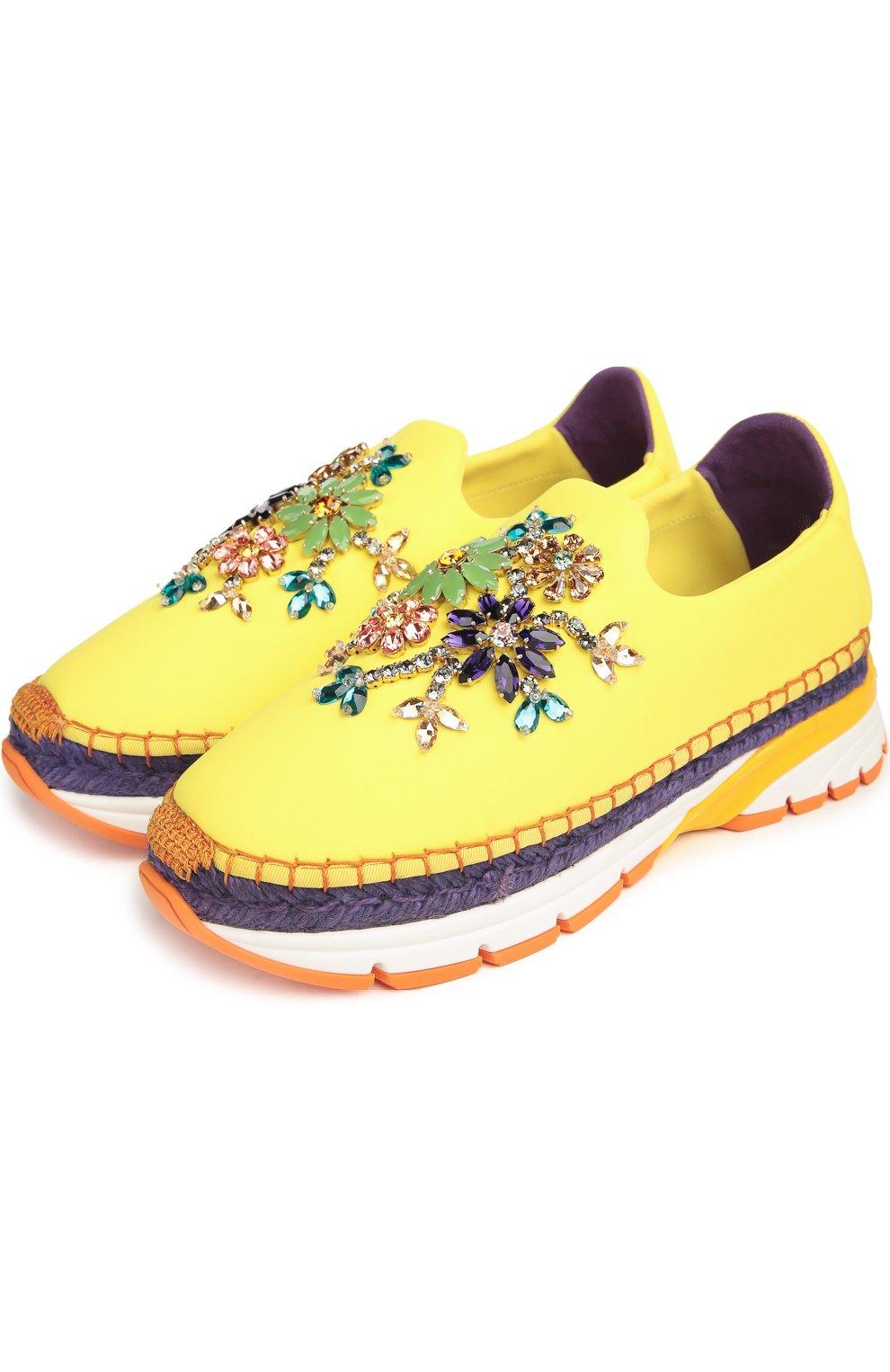 Текстильные кроссовки с декором Dolce & Gabbana желтые | Фото №2