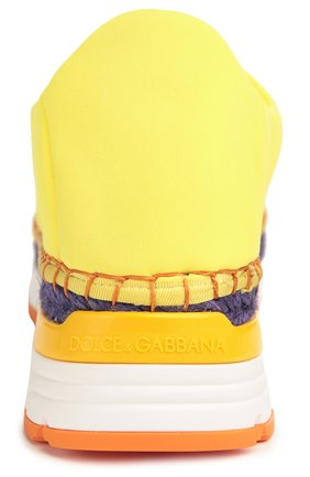Текстильные кроссовки с декором Dolce & Gabbana желтые | Фото №3